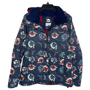 ROXY Navy Blue Floral Print Ski Jacket EUC Hooded DryFlight Womens Sz Large L