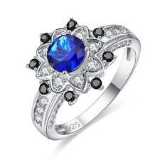 Fashion Women Bridal Jewlery Gift Sapphire Gemstone Wedding Flower Silver Ring