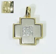 Kreuz-Anhänger mit Diamanten im KARREE-SCHLIFF von 0,50 ct in 585 Weiß-und Gold