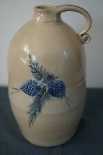 PINE CREEK POTTERY COBALT DECORATED POTTERY JUG w EMBOSSED PINE CONES