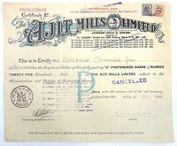India 1949 Ajit Mills Ordinary share certificate