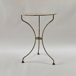 pretty petite vintage antique white French bistro table cafe table garden table