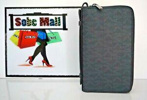 Michael Kors Men's Jet Set Signature Black Double Zip Travel Money Bag Wallet