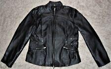 Pamela McCoy Women's Leather Fashion Jacket Black Fully Lined Size M