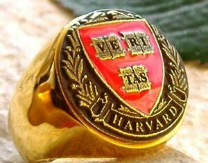 [SIZE 9 UNIVERSITY of HARVARD D82G] SCHOOL RING BAGUE GOLD STEEL PIN PATCH