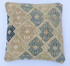 Tribal Anatolian Turkish Kilim Pillowcase Handwoven Kilim Pillow Cover 16''x16''