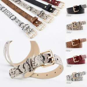 Womens Leather Classic Buckle Waistband Rockabilly Casual Snakeskin Belts
