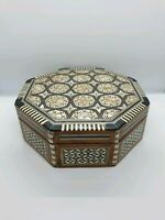 Vintage Wooden Octagonal Jewellery/Trinket Box Inlaid Wood & Mother Of Pearl