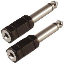 """3.5mm Mini Jack Hembra a 6.35mm Adaptador Convertidor Conector Jack Mono de 1/4"""" X 2"""