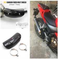 Motorcycle Real Carbon Fiber Exhaust Muffler Cover Heat Shield Cover+Accessories