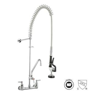 """Commercial Pre-Rinse Kitchen Faucet 12"""" Add-On Mixer Tap Pull Down Sprayer"""