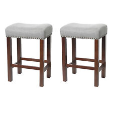 Set of 2 Bar Stools Kitchen Dining Room Saddle Seat Linen Padded Cushion 24""