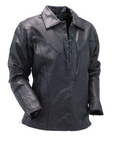 Homme Cuir Chemise Véritable Agneau Slim Fit Stylé Motard Noir Doux Veste