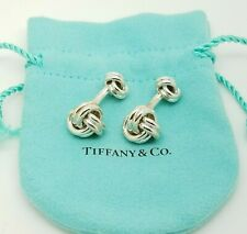Tiffany & Co. 925 Sterling Silver Classic Double Love Knot Cufflinks w/ Pouch