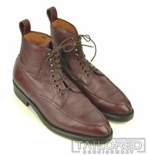 ENZO BONAFE Burgundy Maroon Pebbled BISON Shoes Lace Up Boots w/ BOX - 8.5