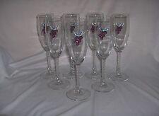 7 Crystal Wine Flutes Twisted Stem Purple & Clear Grape crystal s On Glass NICE