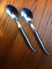 """France Laguiole Stainless Brushed Hollow Curved 2 Place Oval Soup Spoons 8.5"""""""