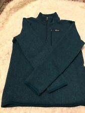 EUC Patagonia Unisex Child Size XL (14) 1/4 Zip Better Sweater. Turquoise Blue