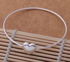 925 silver P Karma Love friend Heart Bangle Bracelet cuff women men gift