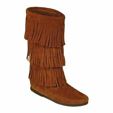 Minnetonka Womens 1632 Brown Suede Calf Hi 3-Layer Fringe Hardsole Boots 5M New