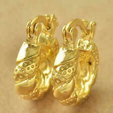 Vintage Yellow Gold Plated Womens Twisted Children Small Hoop Earrings Luck