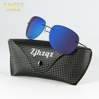 High-end β-Titanium Ultra Light Rimless Polarized Sunglasses Purple Lens Eyewear