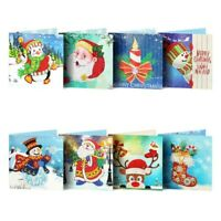 8x 5D Diamond Painting DIY Greeting Cards Merry Christmas Xmas Postcards Gifts