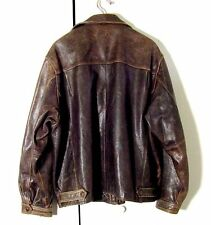 Vtg Distressed Brown Leather Eddie Bauer Motorcycle Bomber Jacket Sz 2XL /3XL