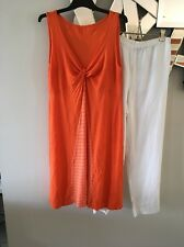 VIGORELLA Australia Orange White Sleeveless Stretch Tunic Tank Dress 8 10 12 PC