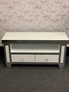 White Mirrored Glass Chrome TV Cabinet Media Unit Stand Luxury Furniture