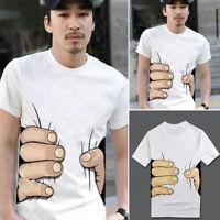Men 3D Big Finger Grip Print T-Shirt Summer Short Sleeve Casual Graphic Tee Tops
