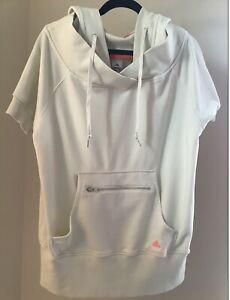 Adidas Stella McCartney Cream w/ Orange SS Sweatshirt Hoodie SIZE L Pullover