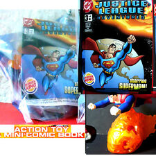 Burger King Justice League 6 toy 2003 Superman w mini DC Comic Book   NEW
