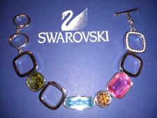 Swarovski Signed Swan Logo Bracelet Silver Plated Multi Colored Large Stones