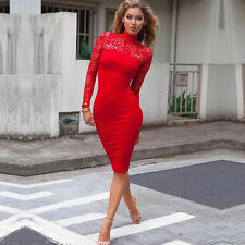 Womens Bandage Bodycon Long Sleeve Evening Party Cocktail Pencil Mini Dress USA