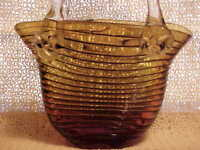 GLASS PURSE GOLD COLOR RIBBED DESIGN 11 INCH TALL VASE, FIGURINE DECORATOR