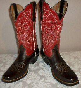 Women's 7-1/2 B Ariat 4 LR Red Leather Cowboy Boots EUC 7.5