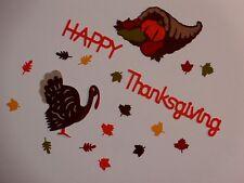 Turkey Cornucopia Happy Thanksgiving mini autumn leaves  scrapbooking die cuts
