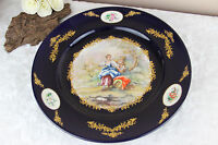 XL French victorian romantic scene Plate in acf sevres porcelain marked 1950's