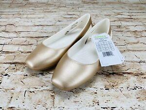 Crocs Sloane Women's Metallic Champagne Ballet Flat Select Size