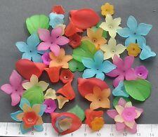 52 X MIX DI PERLE LUCITE/PLASTICA 10/28 mm 22 GMS fioriture di primavera Confezione da 4