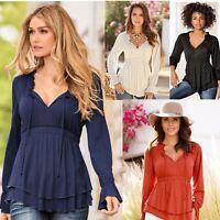 Fashion Women V Neck Long Sleeve Ruffle Hem Tunic Tops Casual Outwear Top Blouse