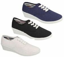 Ladies Black/Navy/White Lace Up Wedge Canvas Shoes : F9722