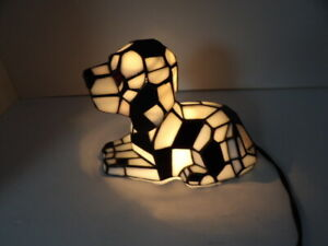 Tiffany Style Stained Glass Dalmatian Dog Bobble Head Night Light Table Lamp