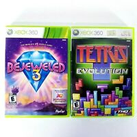 Lot of 2 - Tetris Evolution & Bejeweled 3 (Microsoft Xbox 360, 2007) Complete