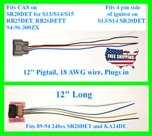 240sx S13 SR20DET SR20 MAF CAS Mass Airflow Sensor Pigtail Connector Crank Angle