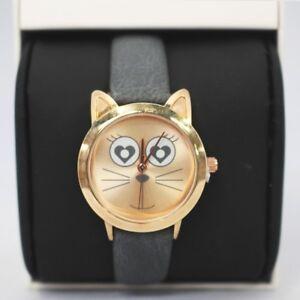 Floozie 7661562 Ladies Pretty Kitten Gold Face Watch Love Heart Design