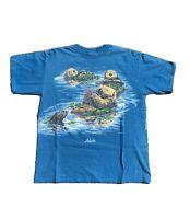 Vintage 90s All Over Print Alaska Habitat T-Shirt - Size Large