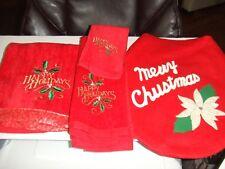 HOLIDAY /CHRISTMAS BATHROOM SET SEAT COVER/BATH TOWEL/HAND TOWEL/WASHCLOTH