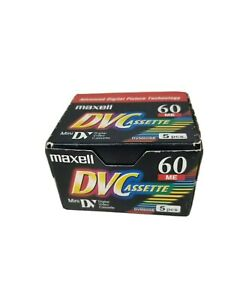 Maxell 5 Pack Mini DVC 60 ME Cassette DVM60SE 60 minute DVC New Sealed